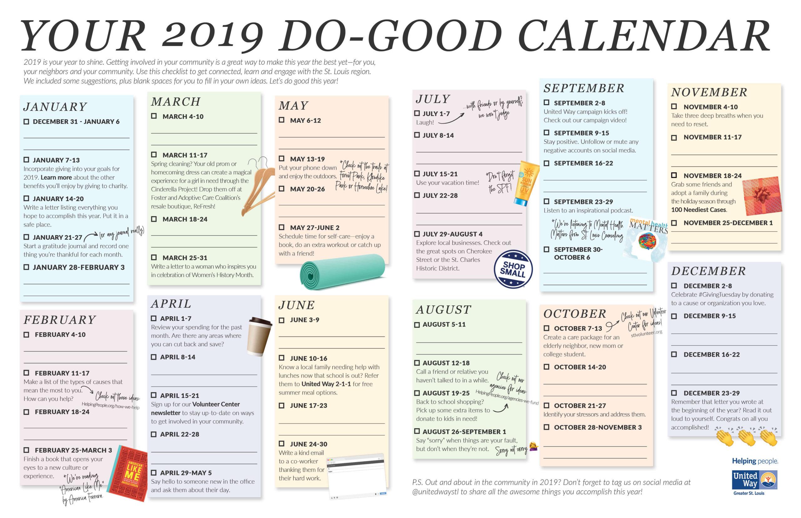 Best 2019 Calendar Your 2019 Do Good Calendar | United Way Greater St. Louis